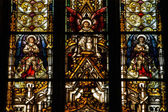 Stained glass window detail in Cluj Napoca. Saint Michael church