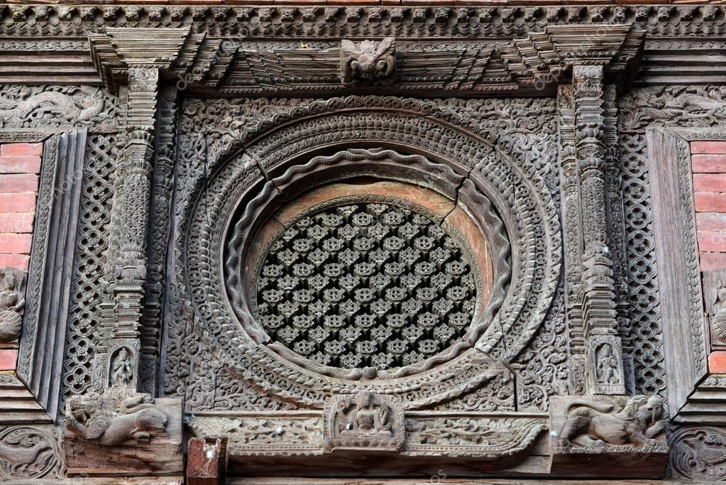 Carved wooden window details on the royal palace of kathmandu n