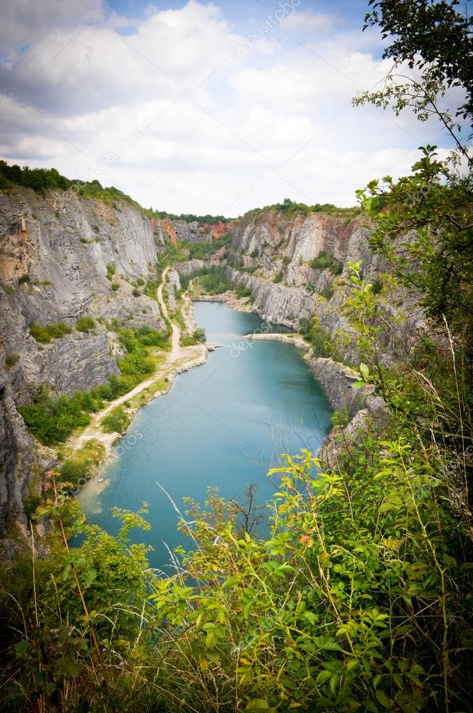Small lake in a quarry