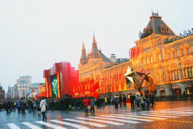 Vintage military equipment shown on the Red Square in Moscow