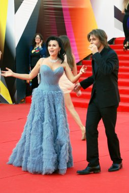 Anastasia Zavorotnyuk and Peter Chernyshov at Moscow Film Festival