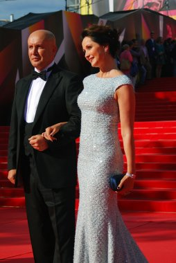 Actress Olga Kabo with her husband at Moscow Film Festival