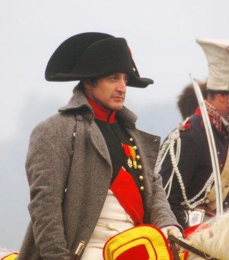 Reenactor plays Napoleon Bonaparte at Borodino 2012 historical reenactment