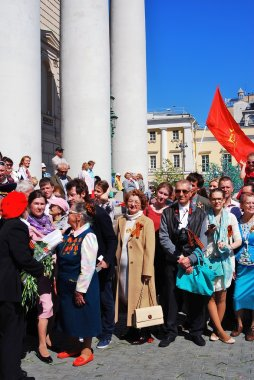 Portrait of war veterans. Victory Day celebration in Moscow.