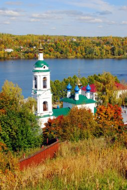View of Ples town, Russia, and the Volga river. Saint Barbara church.