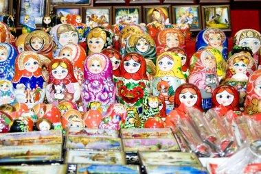 Babushka dolls offered for sale.