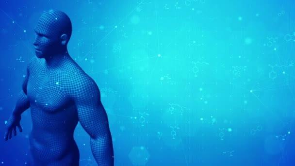 3D Männlicher Mensch dreht sich auf wissenschaftlichem Hintergrund.