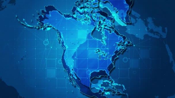 Obchodní mapa technologie Severní Amerika koncept.