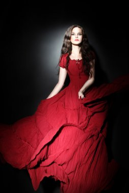 Elegant woman in long dress Red fashion
