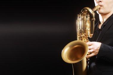 Saxophone Saxophonist with baritone sax