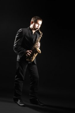 Saxophone player Saxophonist with sax alto