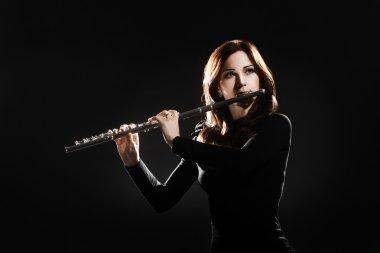 Flute player flutist musician playing concert
