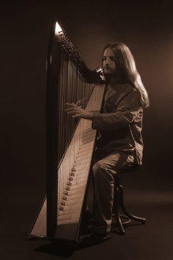 Irish harp player. Musician harpist
