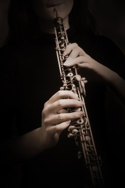 Oboe hands Oboist playing classical music instrument