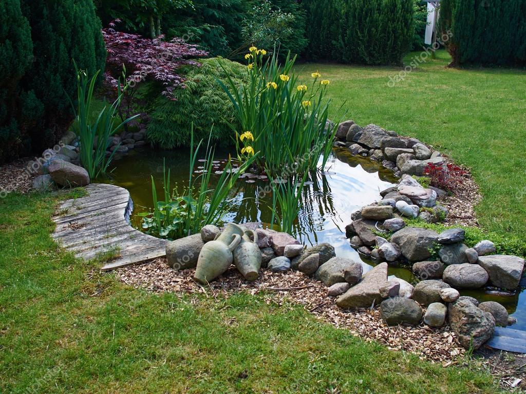 Schöne Klassische Fische Garten Teich Garten Ringelblume Hintergrund