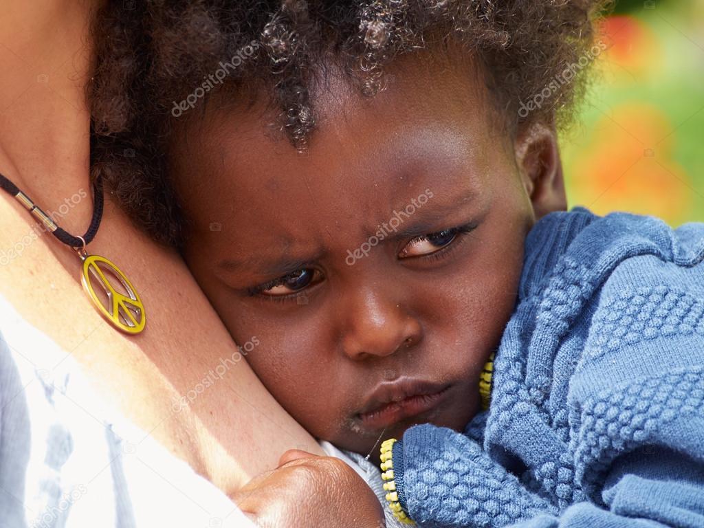 Adorable Black Sad Baby Crying Stock Photo Ronyzmbow
