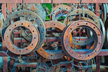 Steel rusted flanges in warehouse