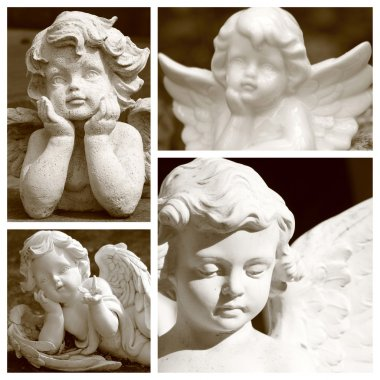 Angelic figurines in sepia color