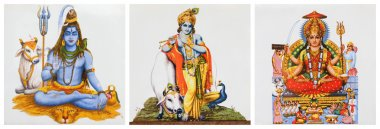 Three images of hindu gods