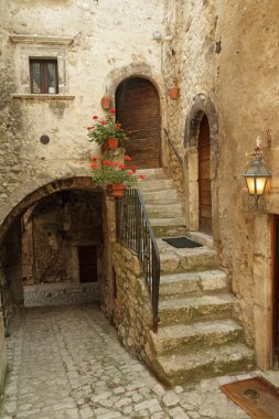 Picturesque court  in italian village