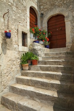 Idyllic doorsteps in italian village