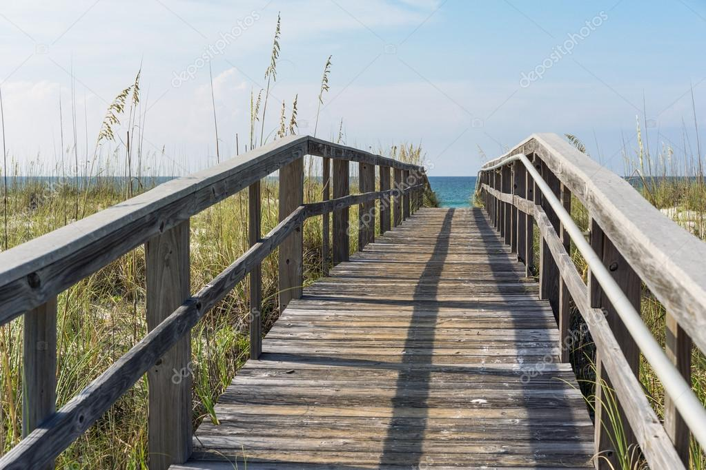 Rustic Wood Beach Boardwalk through Sand Dunes