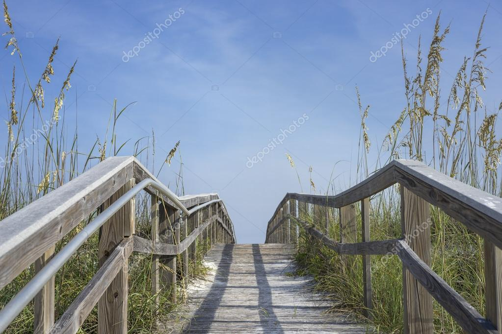 Wooden Boardwalk Path to Summer Fun