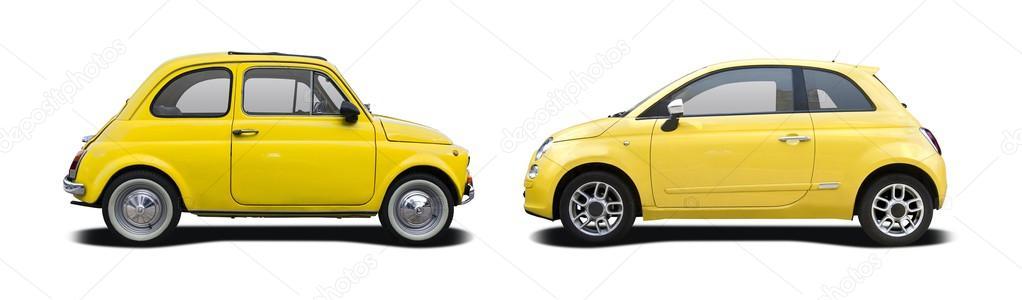 Wspaniały Stary i nowy żółty Fiat 500 - Zdjęcie stockowe editorial GS85
