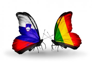 Butterflies with  Slovenia and  Mali flags