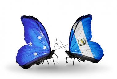 Butterflies with Micronesia and Guatemala flags