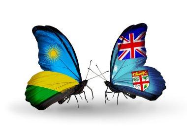 Butterflies with  Rwanda and Fiji flags