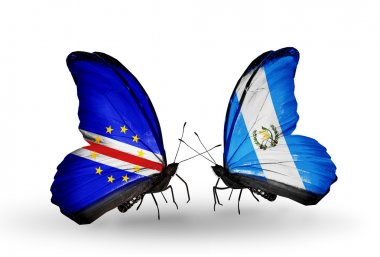 Butterflies with Cape Verde and Guatemala flags