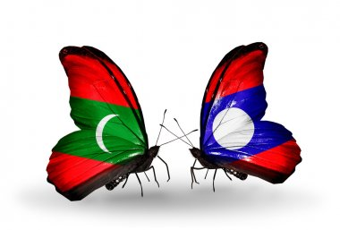 Butterflies with Maldives and Laos flags
