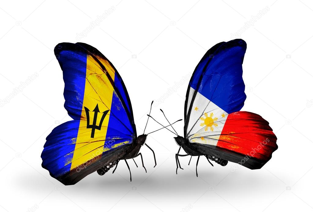Фотообои Бабочки с Барбадоса и флаги Филиппины