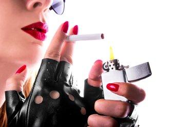 punk rock girl smoking a cigarette