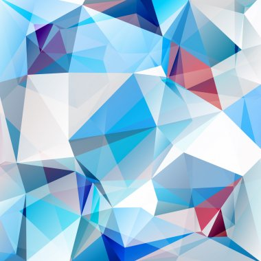 Polygonal abstract background with white and blue triangles. clip art vector