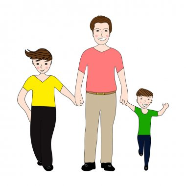 Happy dad holding small and large arm sons clip art vector