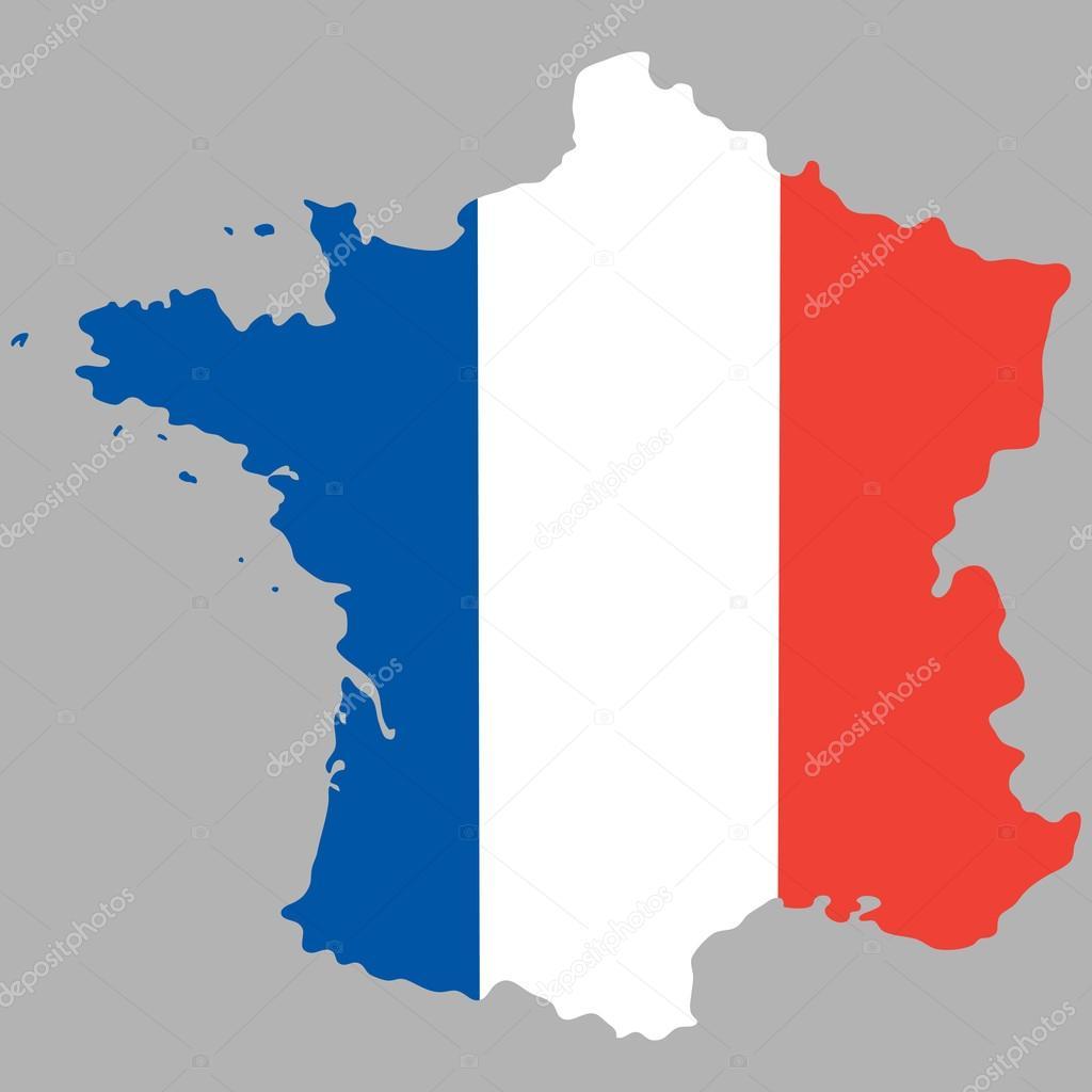 Carte de France avec un drapeau national officiel — Image vectorielle pavlentii © #106646580