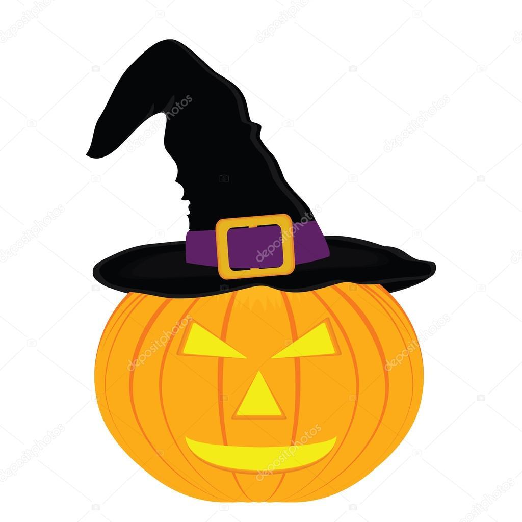 32aae06354448 Sombrero de bruja malvada de calabaza de halloween - sombrero de bruja para  calabaza — Vector de pavlentii — Vector de ...
