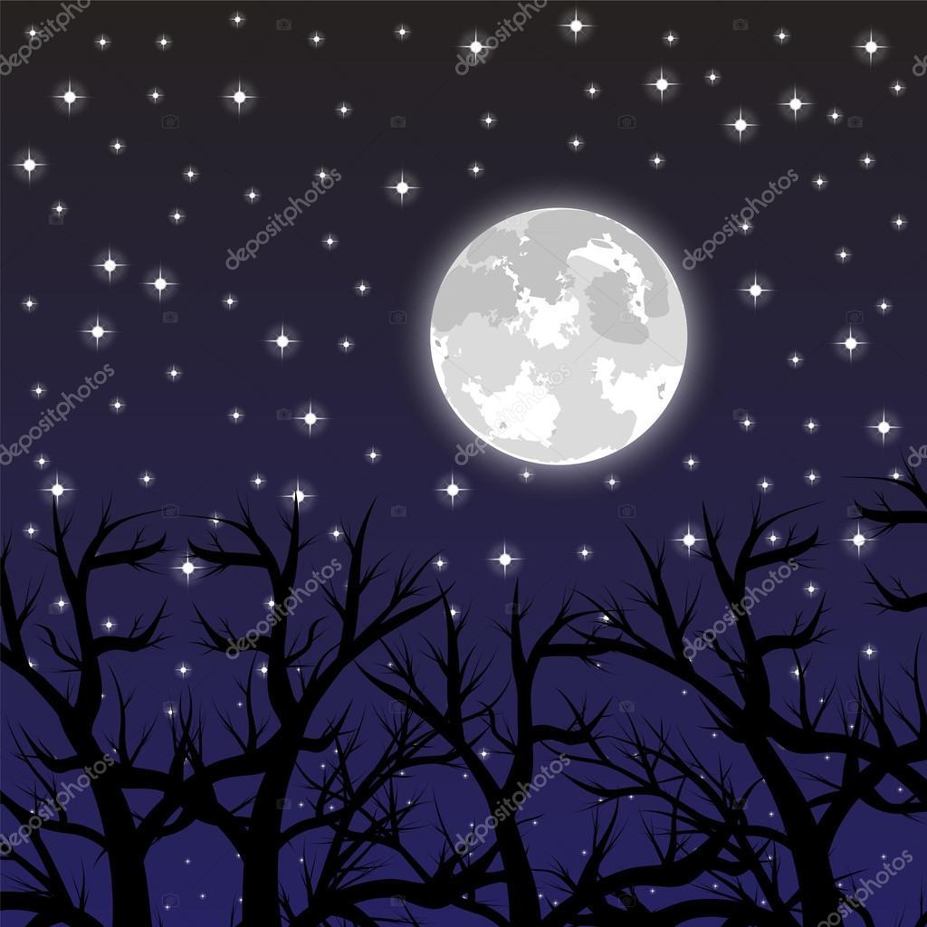 la lune dans le ciel avec les toiles dans les bois image vectorielle pavlentii 53525389. Black Bedroom Furniture Sets. Home Design Ideas