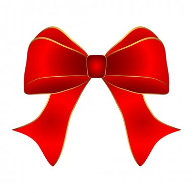 Red bow with gold