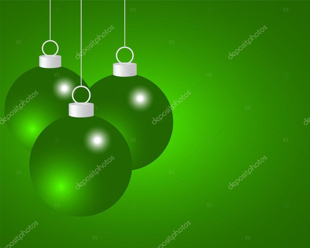 Bolas De Navidad Rojas Sobre Fondo Verde: Bolas De Navidad Verdes Sobre Un Fondo Verde