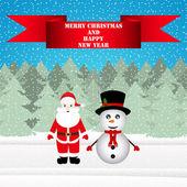 Pupazzo di neve e Babbo Natale in una foresta di Natale