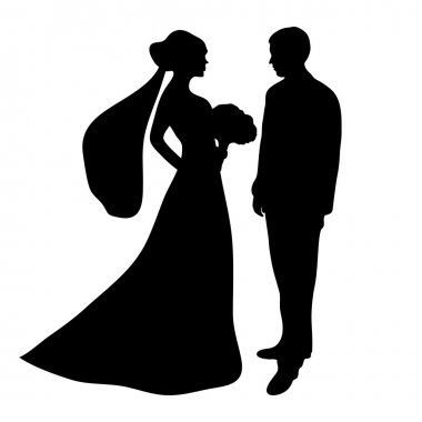 bride and groom silhouette on a white background