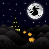 Noční krajina na halloween