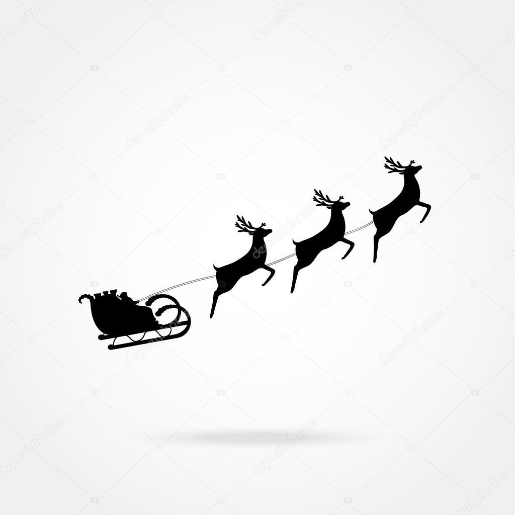 Der Weihnachtsmann Reitet In Einen Schlitten Im Kabelbaum Auf Das