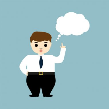 Young businessman showing thumb up and thinks aloud clip art vector