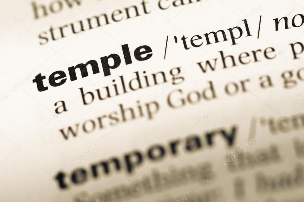 Cerca de la antigua página de Diccionario de inglés con el templo de ...