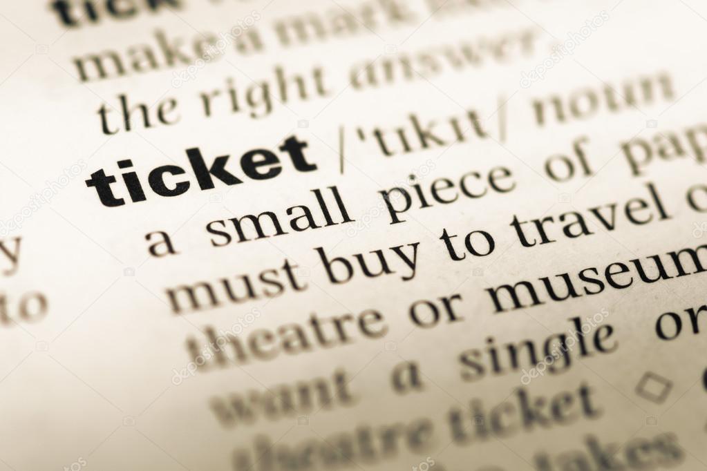 Nahaufnahme von alten englischen Wörterbuch-Seite mit Wort-ticket ...