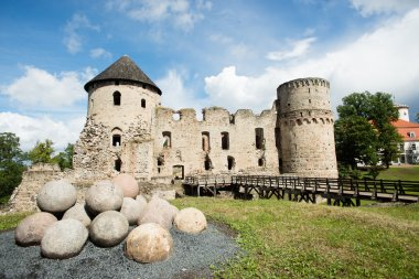 Cesis Castle and cannonballs